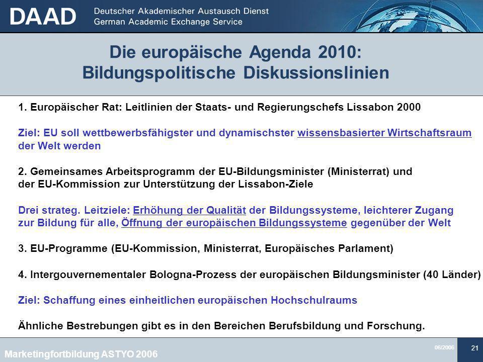 Die europäische Agenda 2010: Bildungspolitische Diskussionslinien