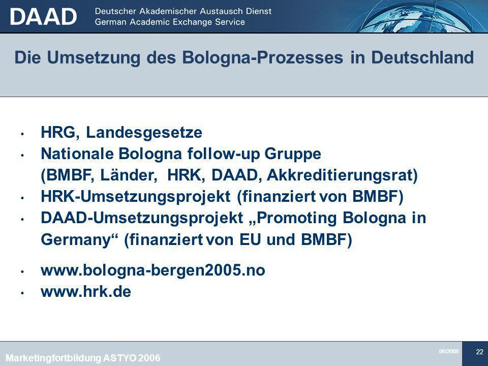 Die Umsetzung des Bologna-Prozesses in Deutschland