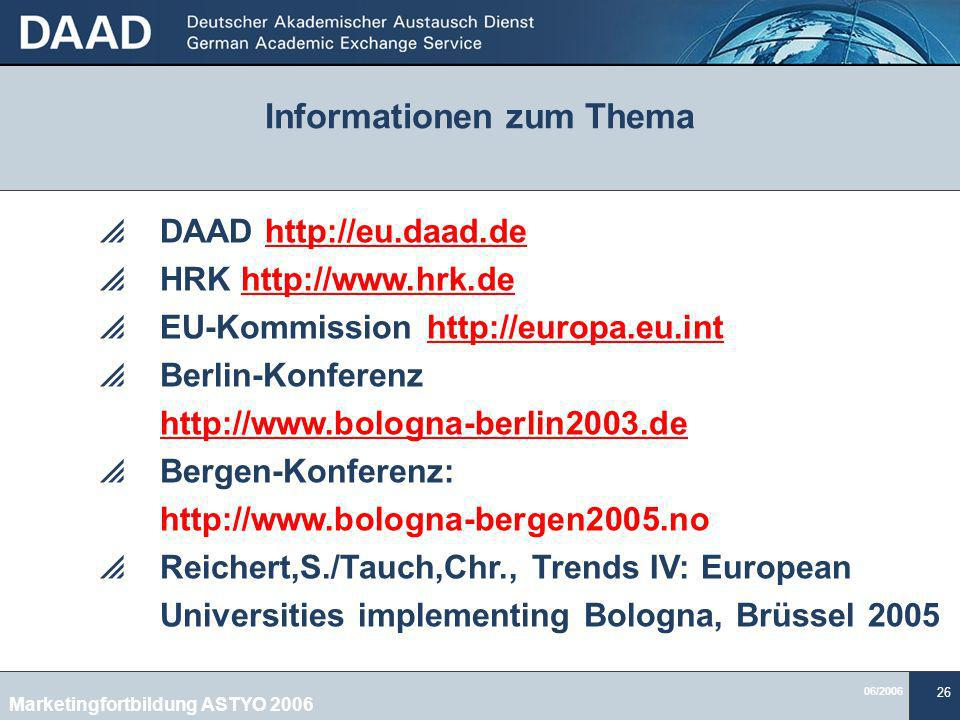 Informationen zum Thema Marketingfortbildung ASTYO 2006