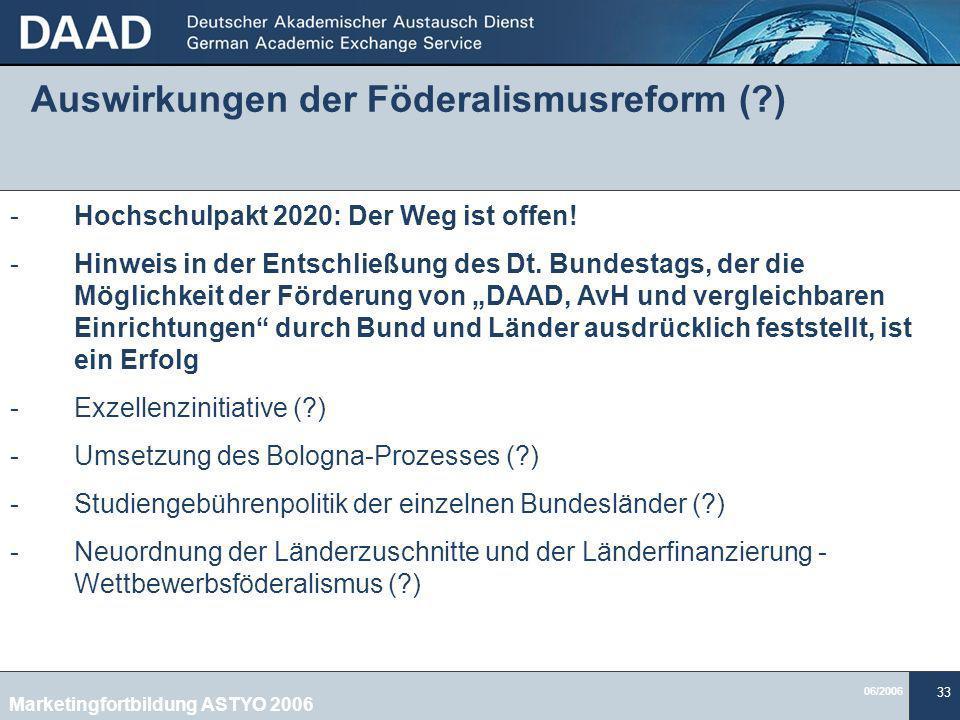 Auswirkungen der Föderalismusreform ( )