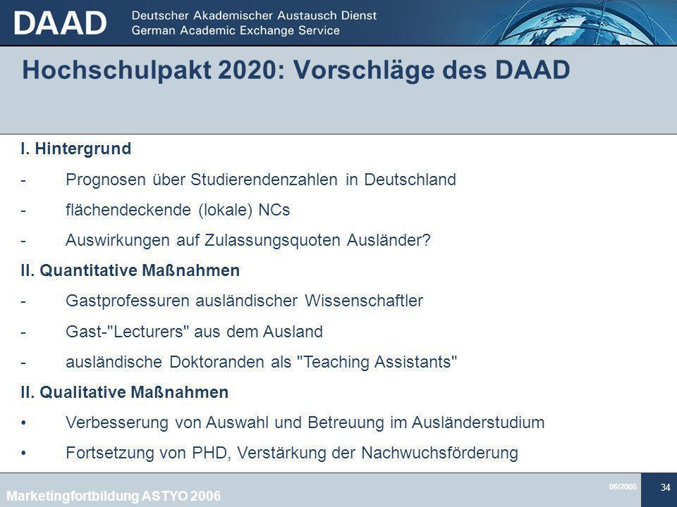 Hochschulpakt 2020: Vorschläge des DAAD