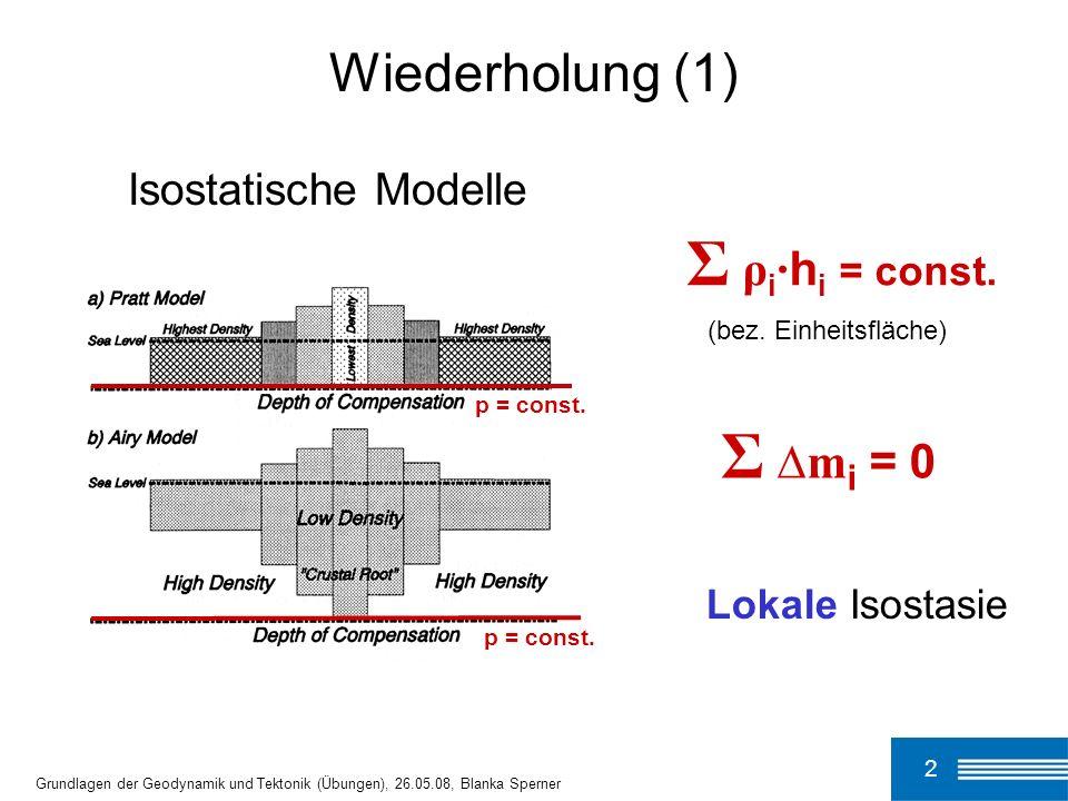 Σ ρi·hi = const. Σ ∆mi = 0 Wiederholung (1) Isostatische Modelle