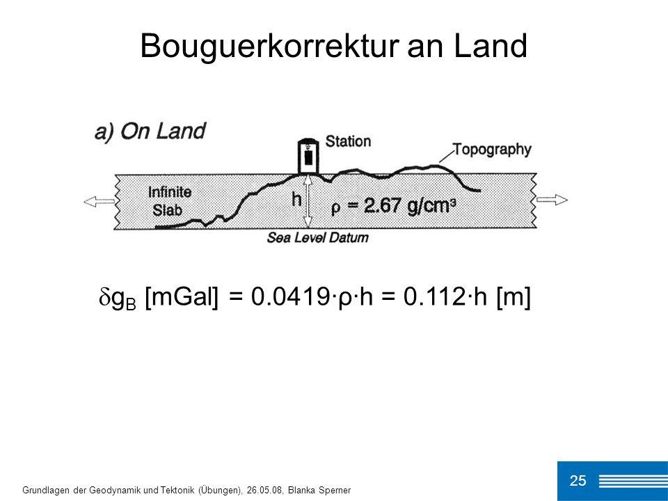 Bouguerkorrektur an Land
