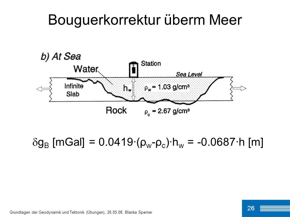 Bouguerkorrektur überm Meer