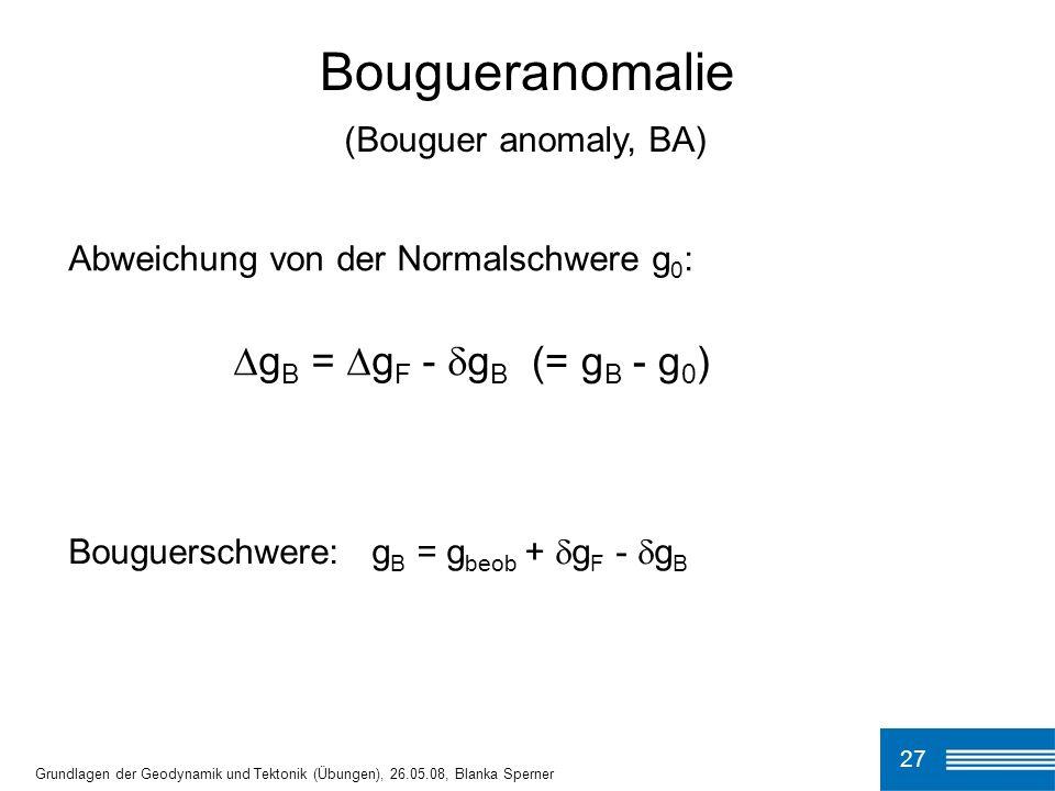 Bougueranomalie ∆gB = ∆gF - gB (= gB - g0) (Bouguer anomaly, BA)