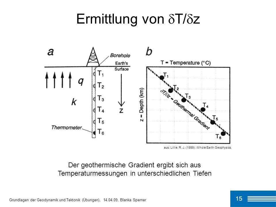 Ermittlung von T/zaus: Lillie, R. J. (1999): Whole Earth Geophysics.