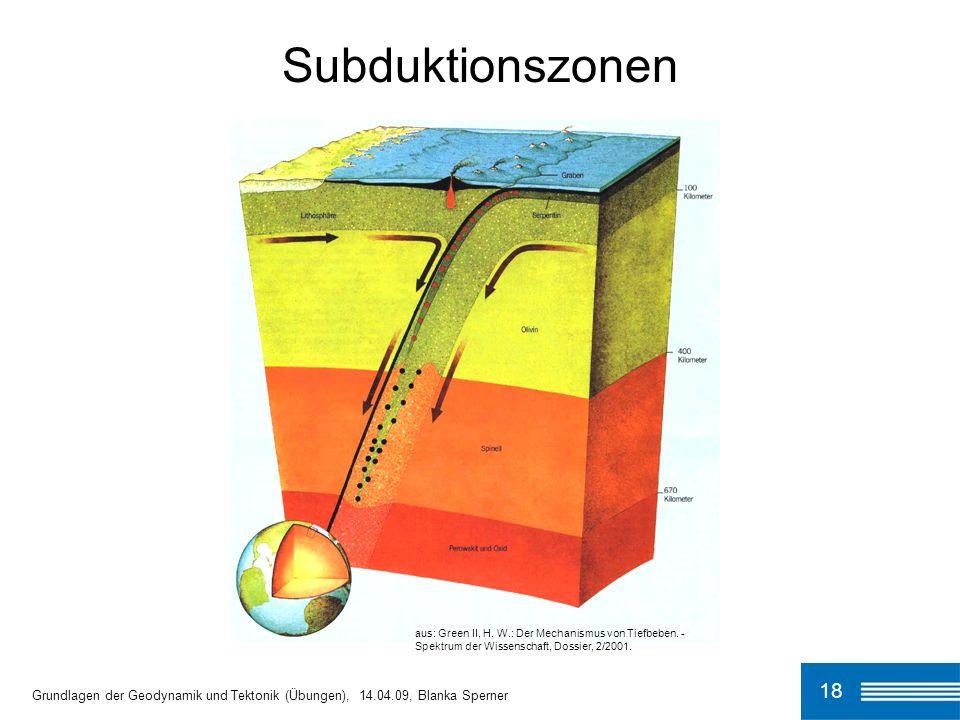 Subduktionszonen aus: Green II, H. W.: Der Mechanismus von Tiefbeben. - Spektrum der Wissenschaft, Dossier, 2/2001.