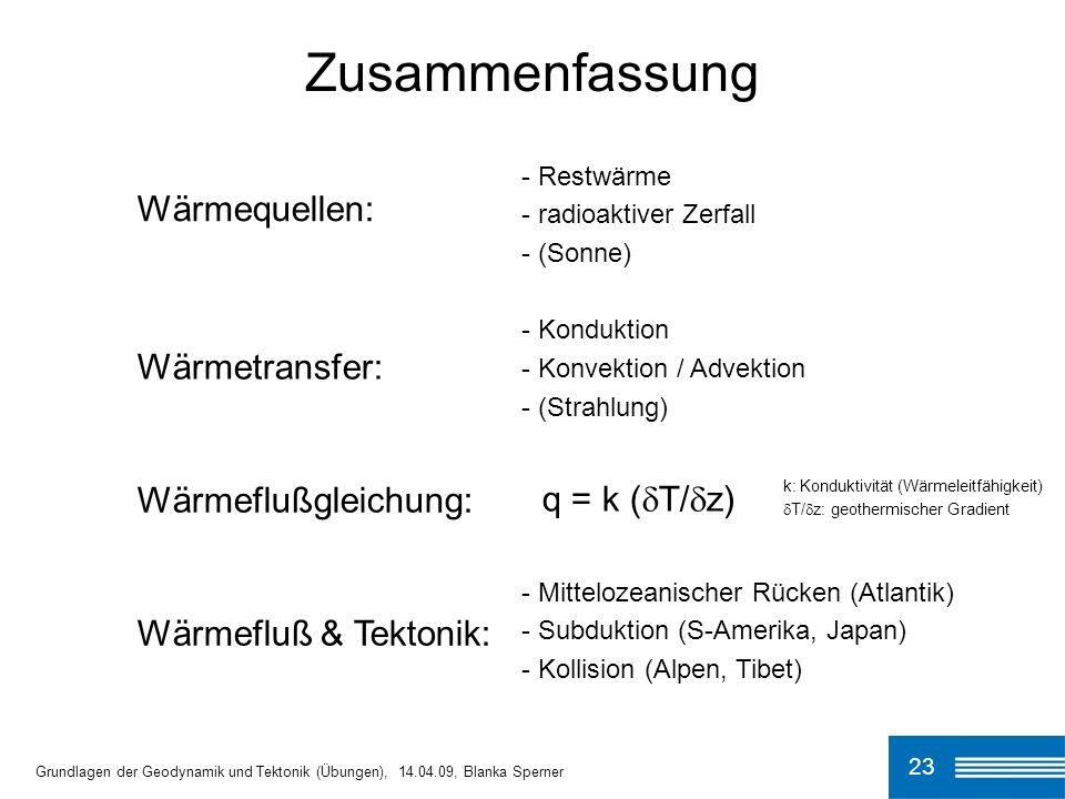 Zusammenfassung Wärmequellen: Wärmetransfer: q = k (T/z)