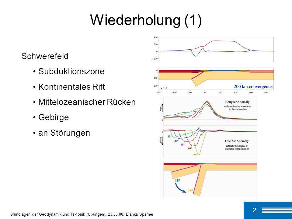 Wiederholung (1) Schwerefeld Subduktionszone Kontinentales Rift