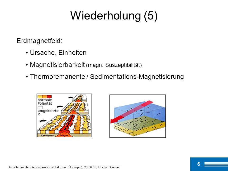 Wiederholung (5) Erdmagnetfeld: Ursache, Einheiten