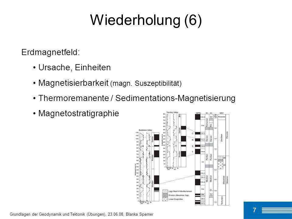 Wiederholung (6) Erdmagnetfeld: Ursache, Einheiten
