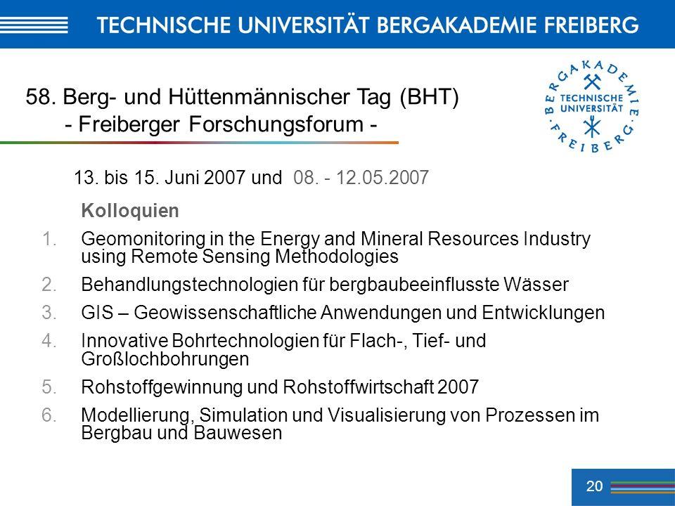 58. Berg- und Hüttenmännischer Tag (BHT) - Freiberger Forschungsforum -