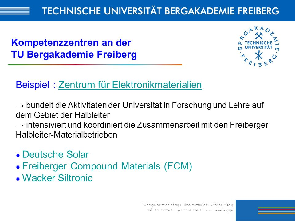 Kompetenzzentren an der TU Bergakademie Freiberg