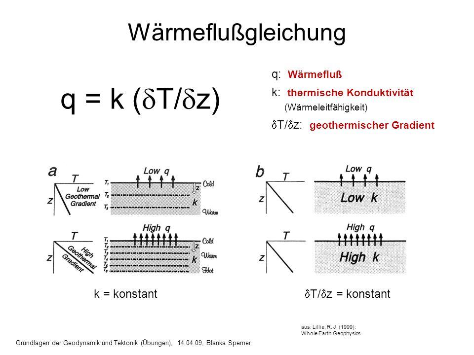 q = k (T/z) Wärmeflußgleichung q: Wärmefluß