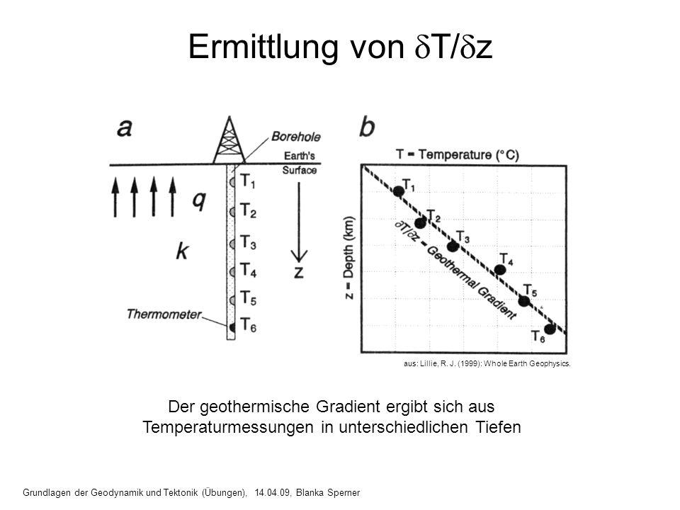 Ermittlung von T/z aus: Lillie, R. J. (1999): Whole Earth Geophysics.