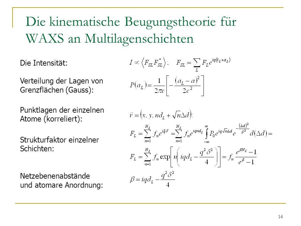 Die kinematische Beugungstheorie für WAXS an Multilagenschichten