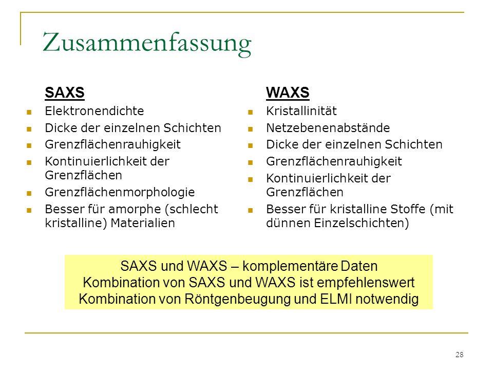 Zusammenfassung SAXS WAXS SAXS und WAXS – komplementäre Daten