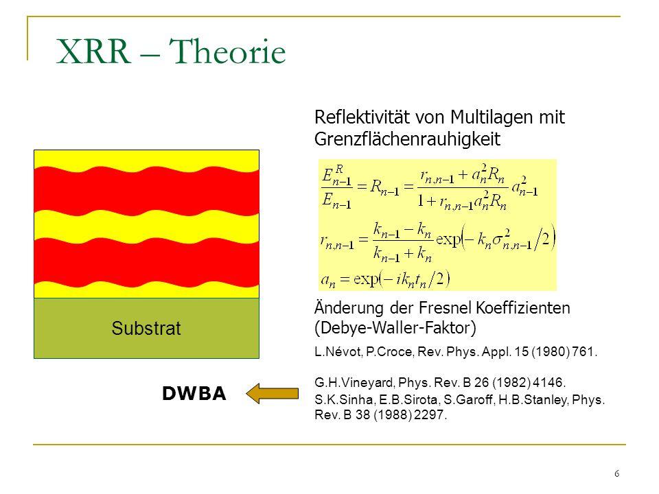 XRR – Theorie Reflektivität von Multilagen mit Grenzflächenrauhigkeit