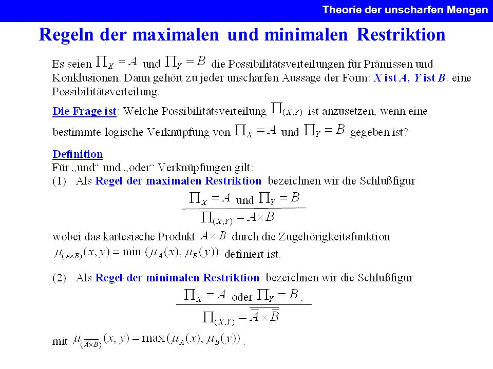 Regeln der maximalen und minimalen Restriktion