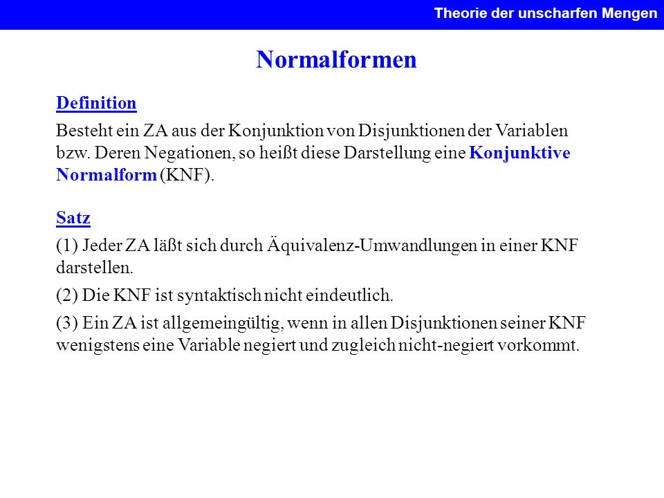 Normalformen Definition