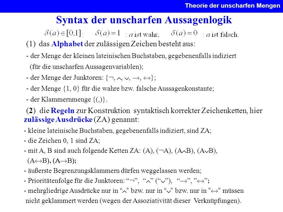 Syntax der unscharfen Aussagenlogik