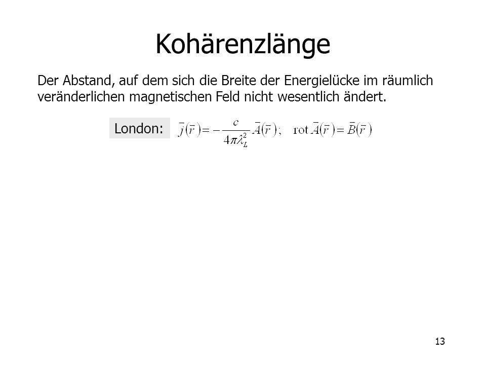 Kohärenzlänge Der Abstand, auf dem sich die Breite der Energielücke im räumlich veränderlichen magnetischen Feld nicht wesentlich ändert.