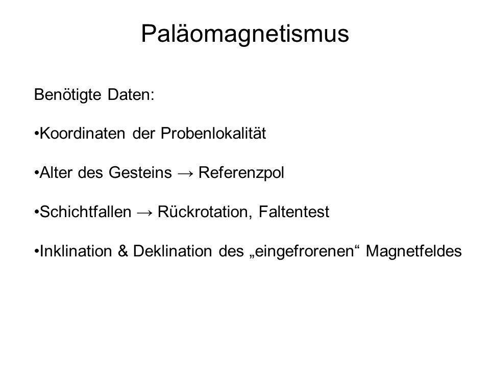 Paläomagnetismus Benötigte Daten: Koordinaten der Probenlokalität