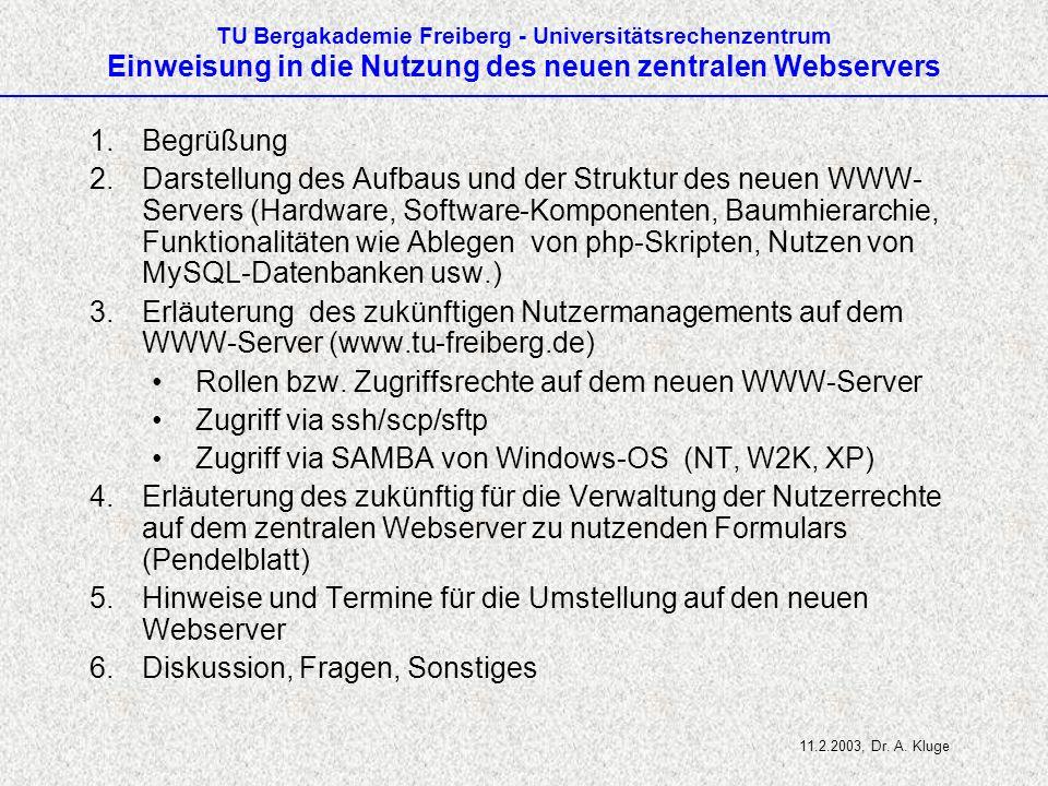 Rollen bzw. Zugriffsrechte auf dem neuen WWW-Server