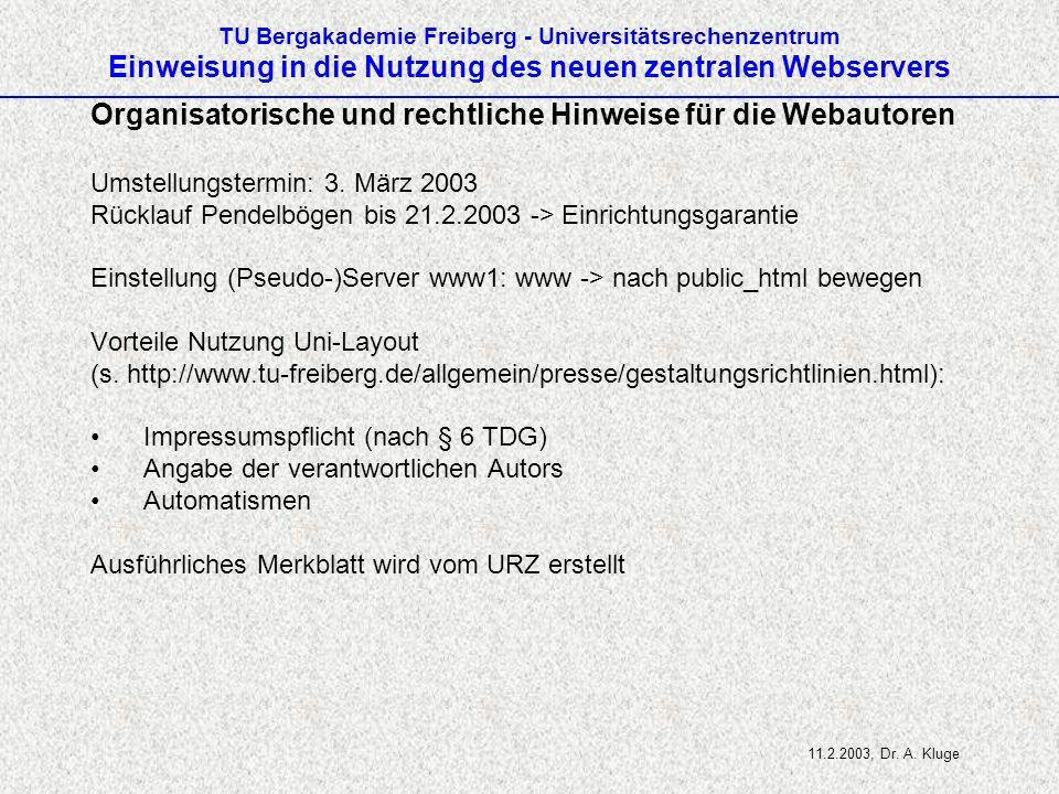 Organisatorische und rechtliche Hinweise für die Webautoren