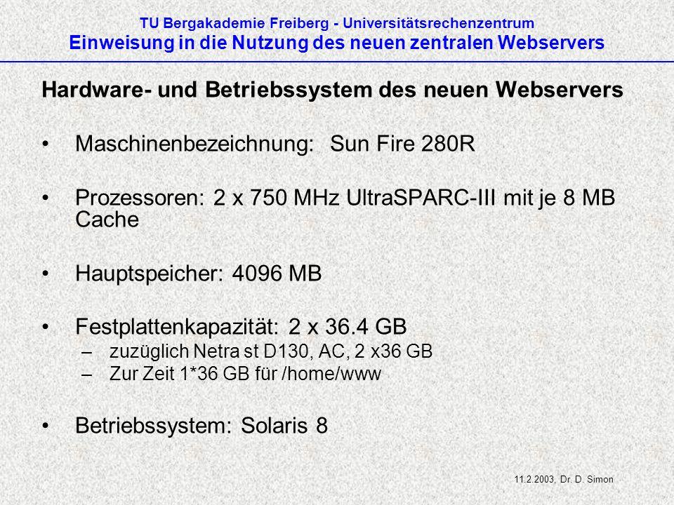 Hardware- und Betriebssystem des neuen Webservers