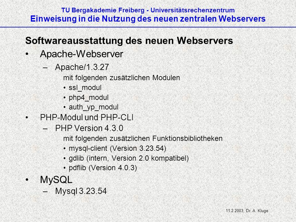 Softwareausstattung des neuen Webservers Apache-Webserver