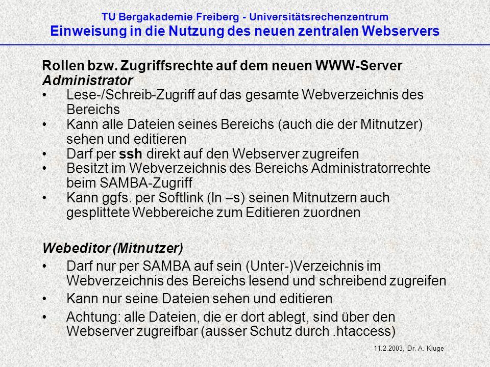 Rollen bzw. Zugriffsrechte auf dem neuen WWW-Server Administrator