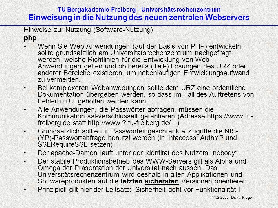 Hinweise zur Nutzung (Software-Nutzung) php