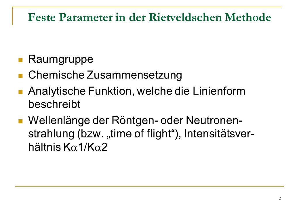 Feste Parameter in der Rietveldschen Methode