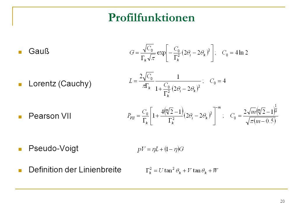 Profilfunktionen Gauß Lorentz (Cauchy) Pearson VII Pseudo-Voigt