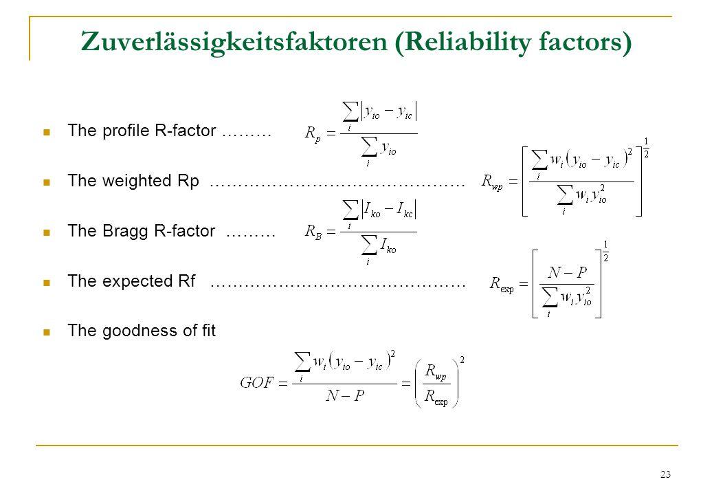 Zuverlässigkeitsfaktoren (Reliability factors)