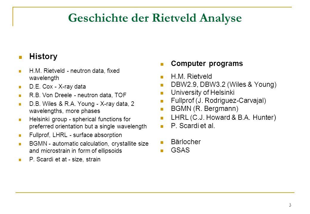 Geschichte der Rietveld Analyse