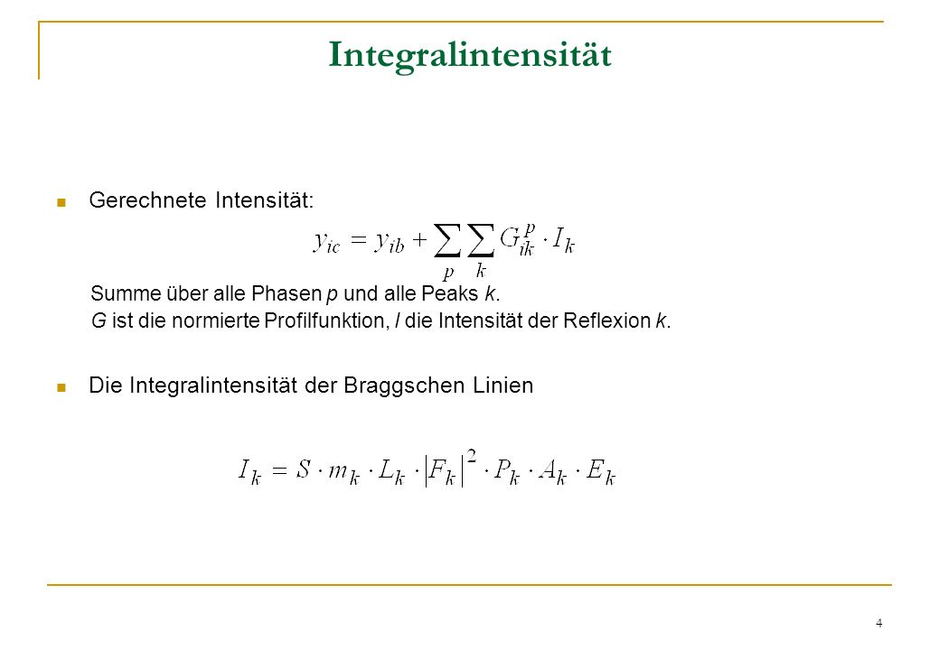 Integralintensität Gerechnete Intensität: