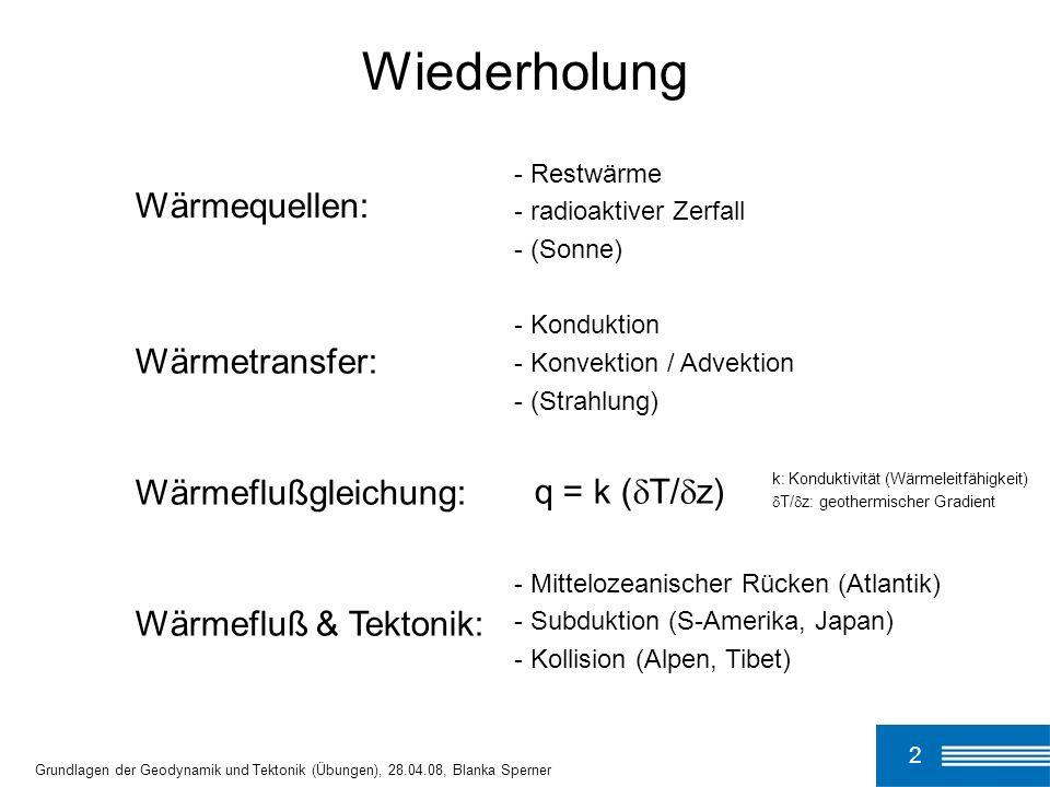 Wiederholung Wärmequellen: Wärmetransfer: q = k (T/z)