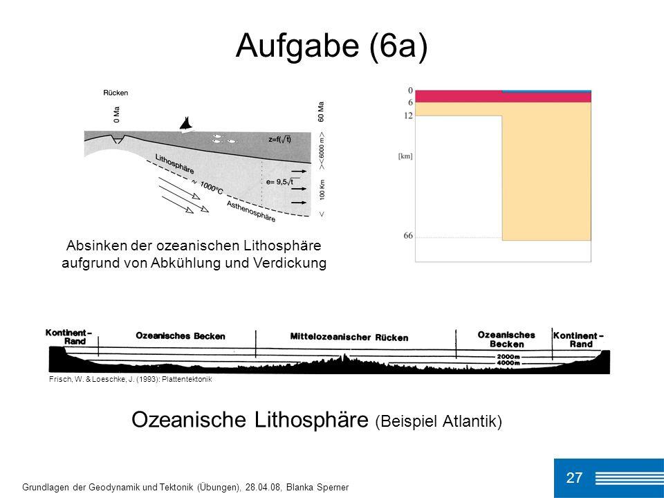 Aufgabe (6a) Ozeanische Lithosphäre (Beispiel Atlantik)