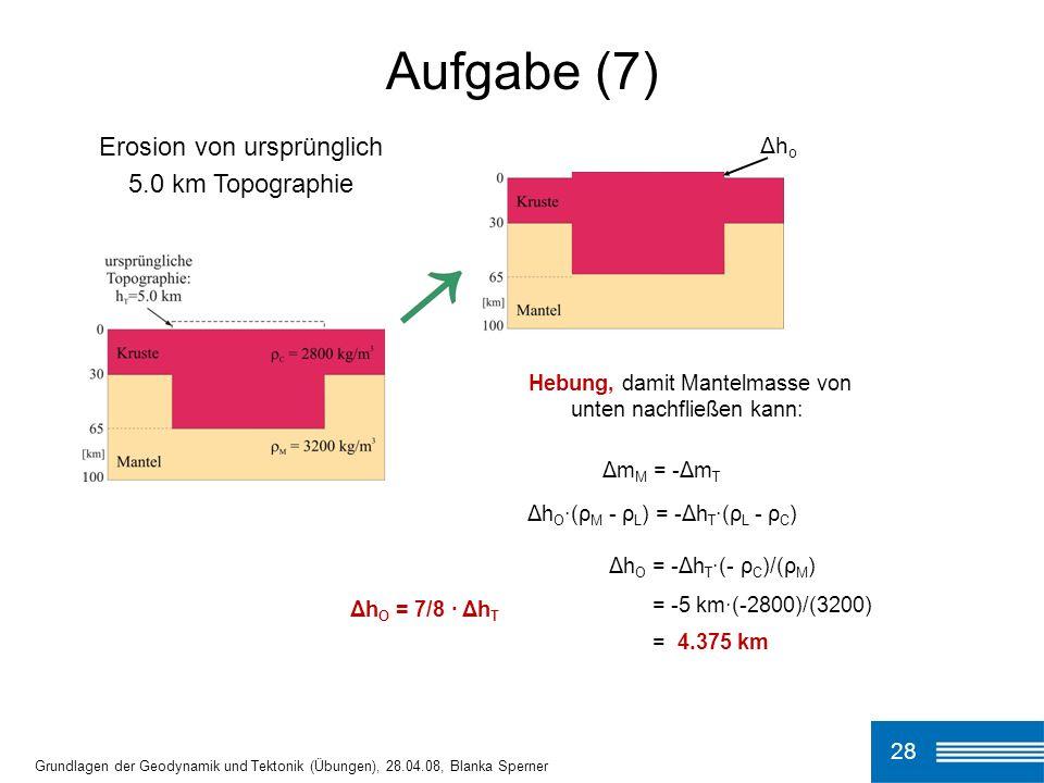 Aufgabe (7) Erosion von ursprünglich 5.0 km Topographie Δho 28