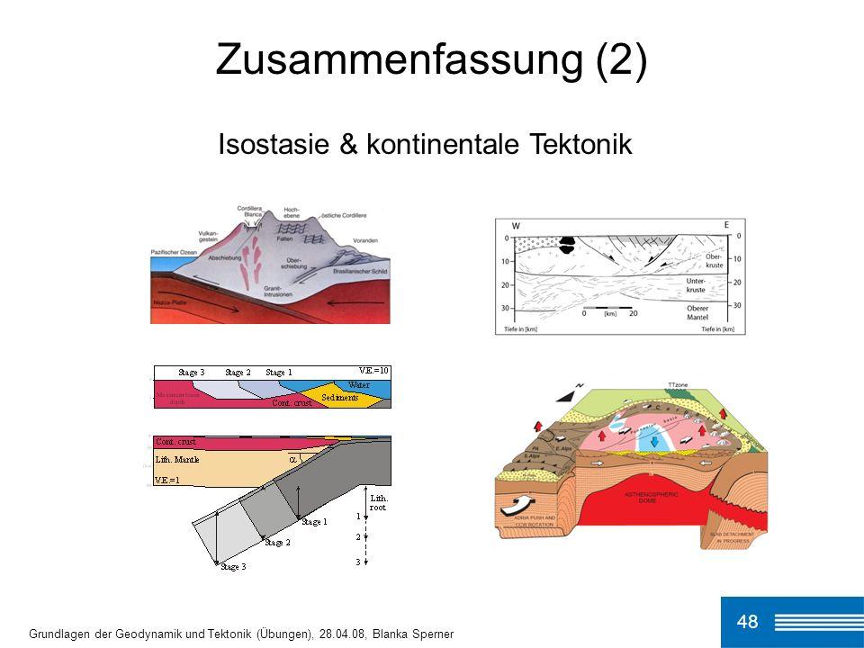 Zusammenfassung (2) Isostasie & kontinentale Tektonik 48