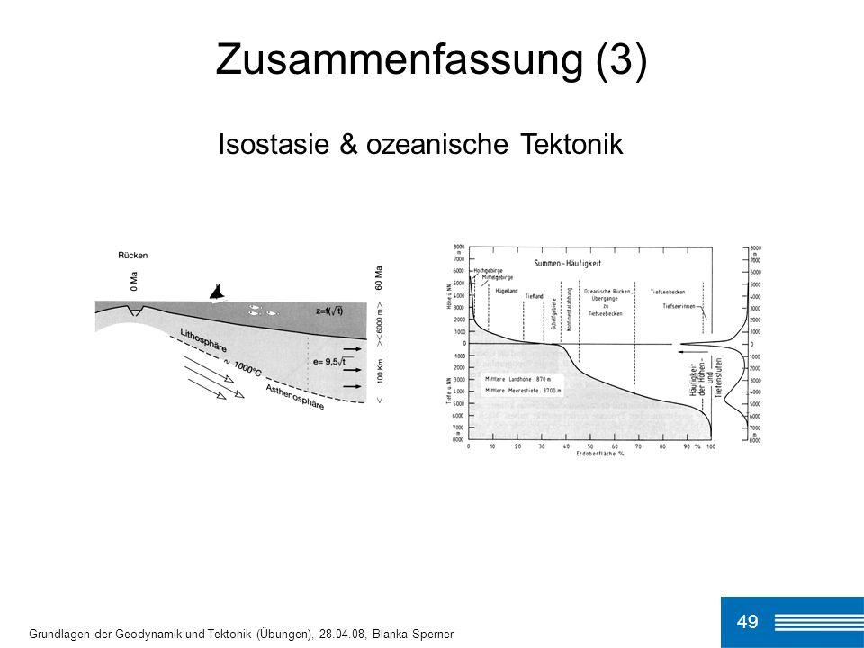 Zusammenfassung (3) Isostasie & ozeanische Tektonik 49