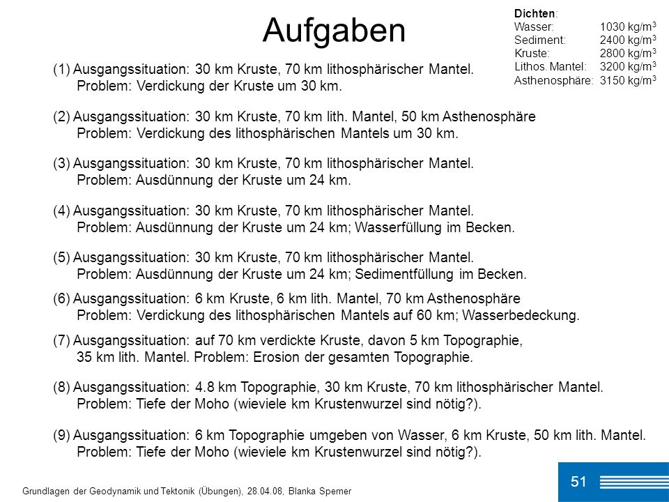 Aufgaben Dichten: Wasser: 1030 kg/m3. Sediment: 2400 kg/m3. Kruste: 2800 kg/m3. Lithos. Mantel: 3200 kg/m3.