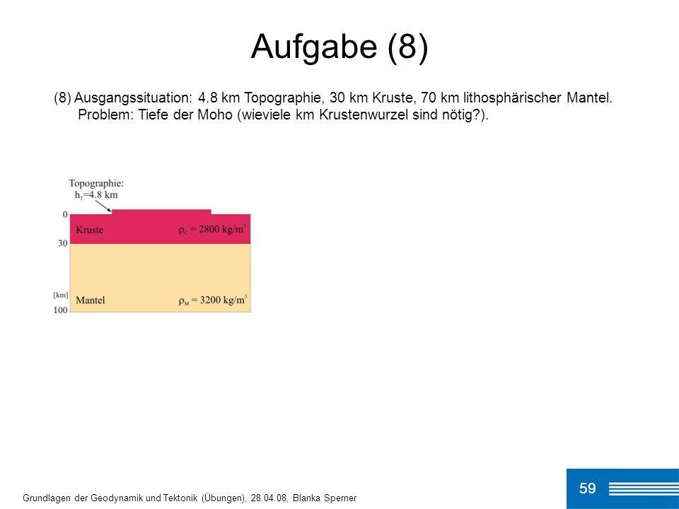 Aufgabe (8) (8) Ausgangssituation: 4.8 km Topographie, 30 km Kruste, 70 km lithosphärischer Mantel.