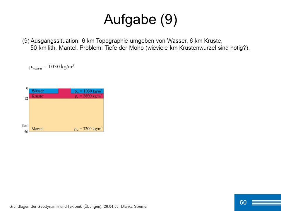 Aufgabe (9) (9) Ausgangssituation: 6 km Topographie umgeben von Wasser, 6 km Kruste,