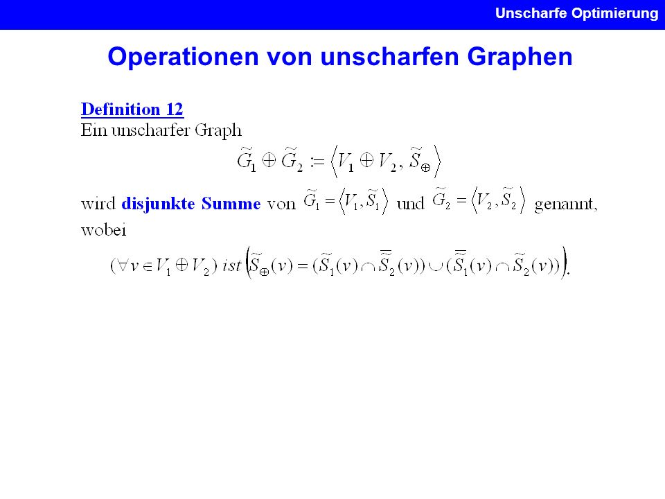Operationen von unscharfen Graphen