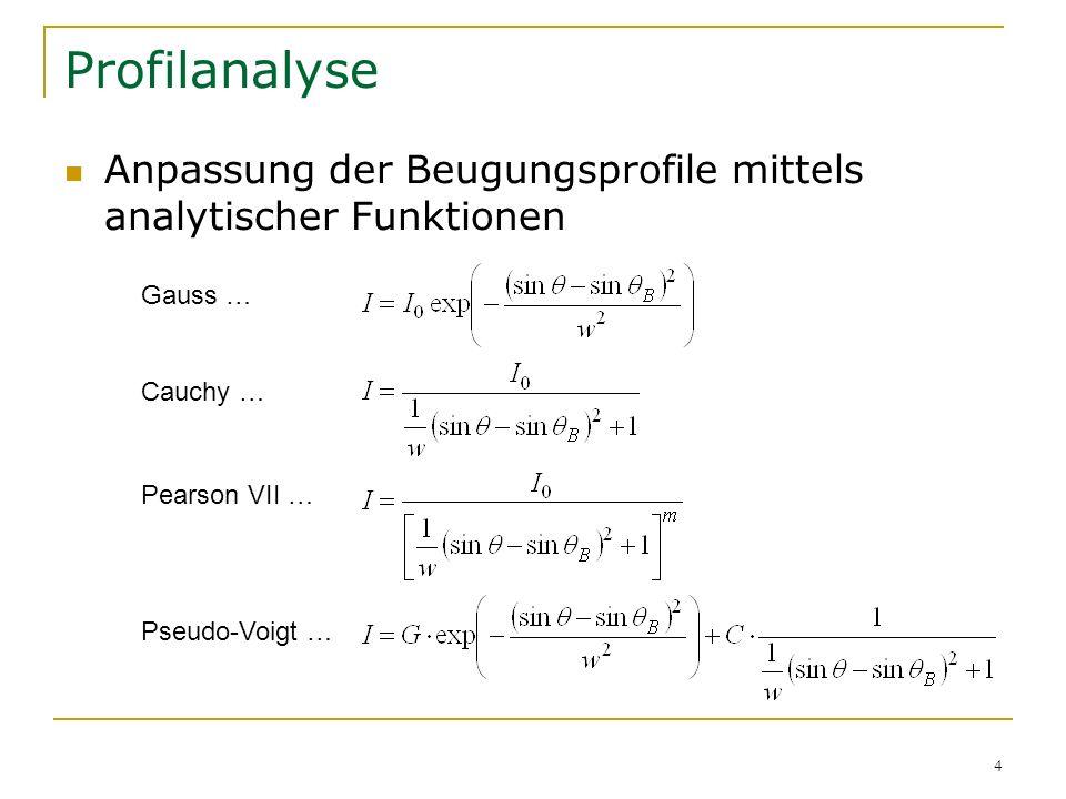 Profilanalyse Anpassung der Beugungsprofile mittels analytischer Funktionen. Gauss … Cauchy … Pearson VII …