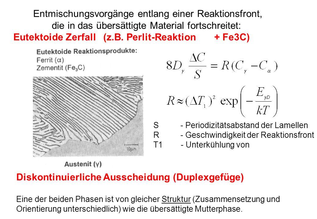 Eutektoide Zerfall (z.B. Perlit-Reaktion + Fe3C)
