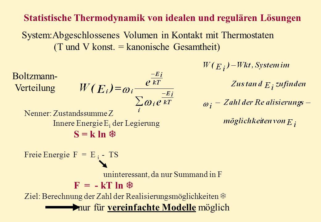 Statistische Thermodynamik von idealen und regulären Lösungen